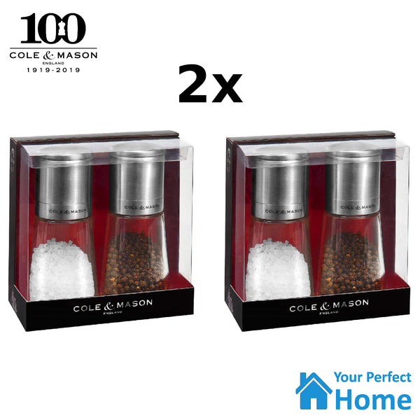 2x Cole & Mason Clifton Glass Salt & Pepper Gift Mill Set