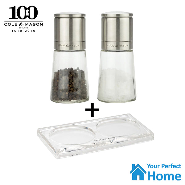 Cole & Mason Clifton Glass Salt & Pepper Grinder Gift Mill Set + Acrylic Tray