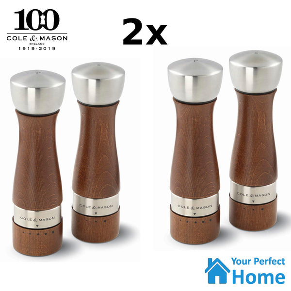 2x Cole & Mason Gourmet Precision Oldbury Salt & Pepper Gift Mill Grinder Set