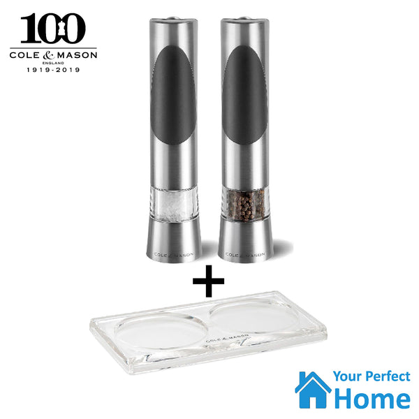 Cole & Mason Richmond Electronic Salt & Pepper Gift Mill Grinder Set + Acrylic Tray