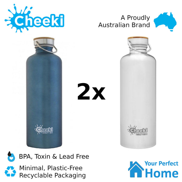 2 x Cheeki 1.6L Thirsty Max Stainless Steel Water Bottle