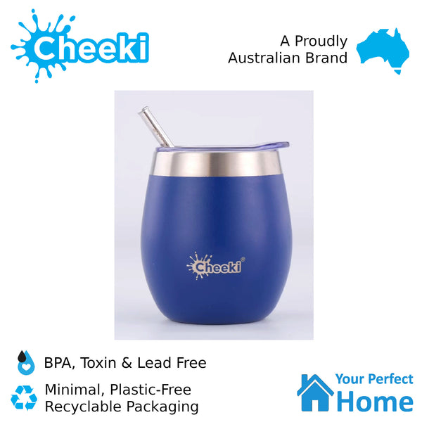 Cheeki 220ml Insulated Wine Tumbler Sapphire Blue