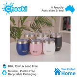 Cheeki 220ml Insulated Wine Tumbler Pink Champagne
