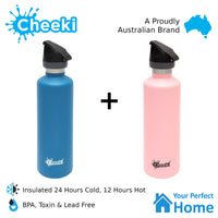 2 x Cheeki 600ml Stainless Steel Insulated Active Sports Water Bottle