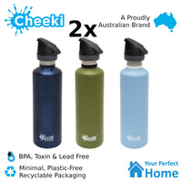 2 x Cheeki 750ml Single Wall Active Stainless Steel Water Bottle