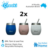 2 x Cheeki 220ml Insulated Wine Tumbler