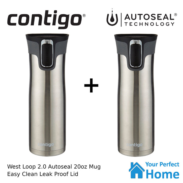 2 x Contigo West Loop 591ml 20oz Autoseal Insulated Travel Coffee Mug S/S