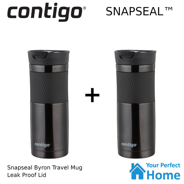 2 x Contigo Snapseal Byron 591ml Vacuum Insulated Travel Mug Black