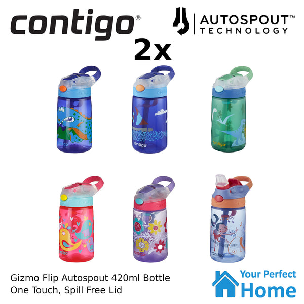 2 x Contigo Autospout Gizmo Flip 420ml Kids Drink Spill Proof Bottle