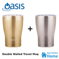 2 x Oasis 340ml S/S Coffee Double Wall Insulated Travel Mug with Lid