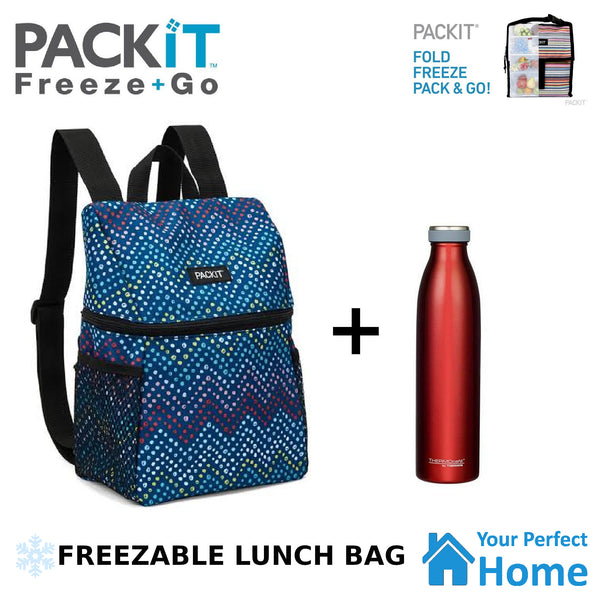 Packit Freezable Lifestyle Lunch Backpack Plus Thermos 750ml Water Bottle Deal