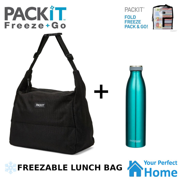 Packit Freezable Hobo Lunch Bag Plus Thermos 750ml Water Bottle Deal