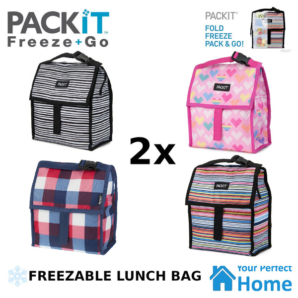2 x Packit Freezable Lunch Bag with Zip Closure & Carry Strap