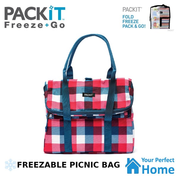 Packit Freezable Picnic Cooler Tote with Built in Gel Walls Check