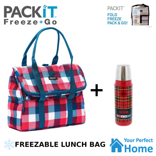 Packit Freezable Picnic Cooler Tote Plus 470ml Thermos Flask Deal