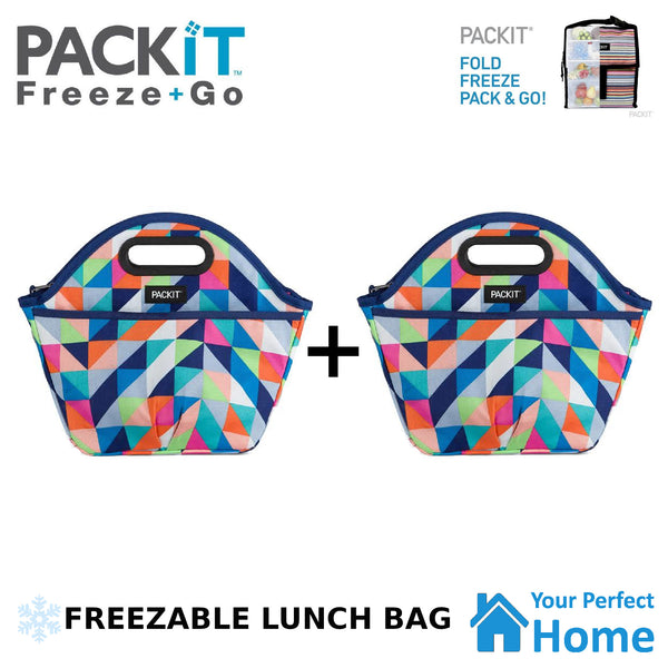 2x Packit Freezable Traveler Lunch Bag with Zip Closure & Carry Handles