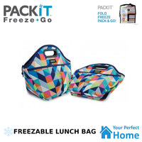 Packit Freezable Traveler Lunch Bag with Zip Closure & Carry Handles