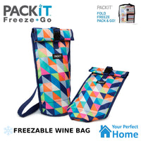 Packit Freezable Wine Bag with Built in Gel Walls & Carry Strap