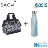 Sachi Style 34 Insulated Lunch Bag Tote with 750ml Oasis Insulated Bottle Medallion Gift Set