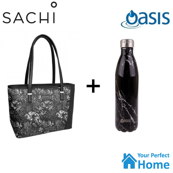 Sachi Style 230 Insulated Lunch Bag Tote with 750ml Oasis Insulated Bottle Moonlight Palms Gift Set