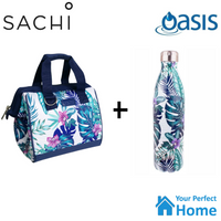Sachi Style 34 Insulated Lunch Bag Tote with 750ml Oasis Insulated Bottle Tropical Paradise Gift Set