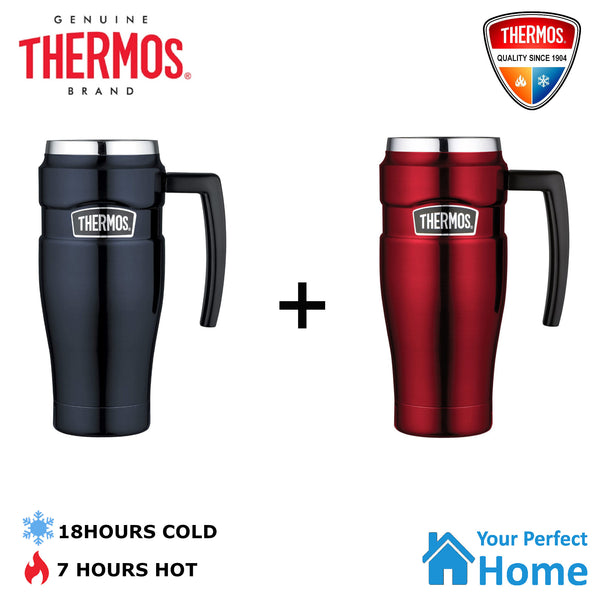 2 x  Genuine Thermos Stainless Steel Vacuum Insulated Travel Mug with Handle 470ml
