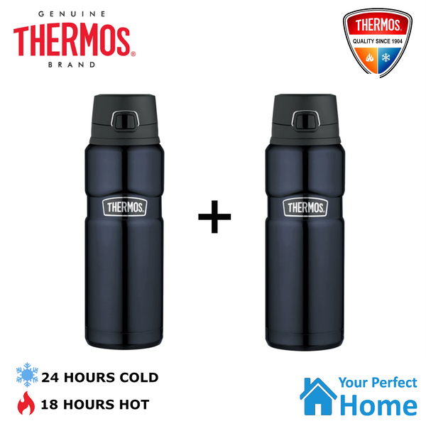 2 x Thermos King Stainless Steel Vacuum Insulated Bottle 710ml Flip Lid