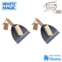 2 x White Magic Eco Basics Dustpan and Brush Set