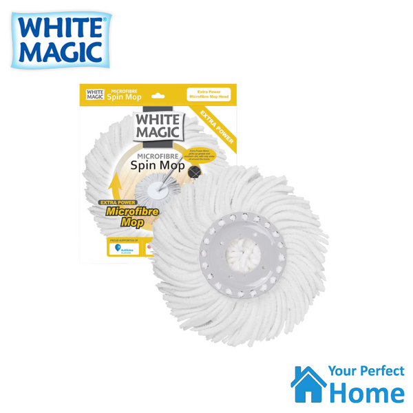 White Magic Replacement Extra Power Microfibre Spin Mop Head