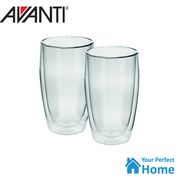 Avanti Caffe Twin Wall Glass Set 400ml Set of 2 Coffee, Tea, Latte