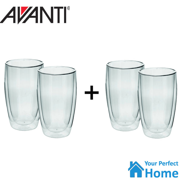 2 x Avanti Caffe Twin Wall Glass Set 400ml Set of 2 Coffee, Tea, Latte