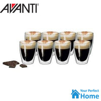 Avanti Caffe Twin Wall Glass 8pc 250ml Thermal Glasses Espresso/Coffee/Tea Cup