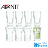 Avanti Uno Double Wall Glass 250ml Set of 8 Hot/Cold Thermal Glasses/Expresso Cups