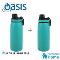 2 x  Oasis Sports Bottle 780ml Double Wall Insulated S/Steel with Screw Cap