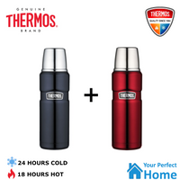2 x  Thermos King Vacuum Insulated Stainless Steel Flask Beverage Bottle 470ml