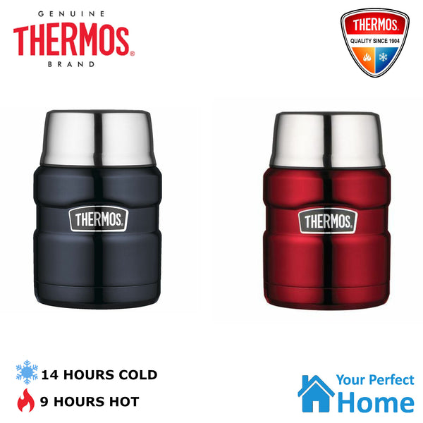 Genuine Thermos King S/Steel Vacuum Insulated Food Jar 470ml with Spoon