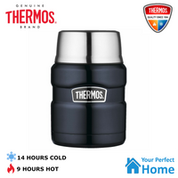 2 x Genuine Thermos King S/Steel Vacuum Insulated Food Jar 470ml with Spoon