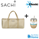 Sachi Wine Bottle Handbag Tote with 320ml Cheeki Insulated Wine Tumbler with S/S Straw and Lid Gift Set Gold