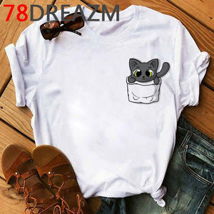 Tricou Oversized Cute Black Cat