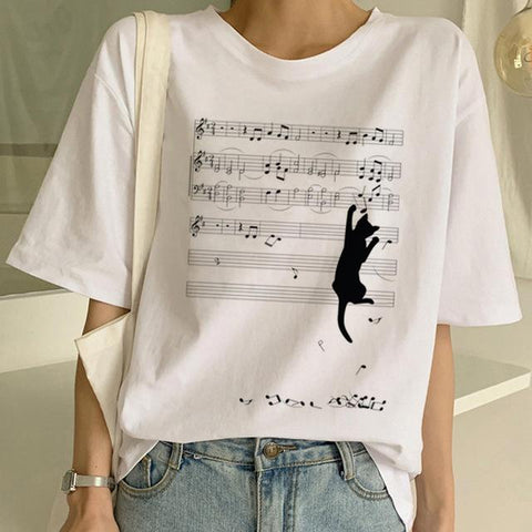 Tricou Oversized Music Track & Cat