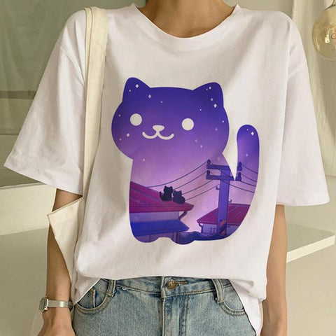 Tricou Oversized Purple Cat