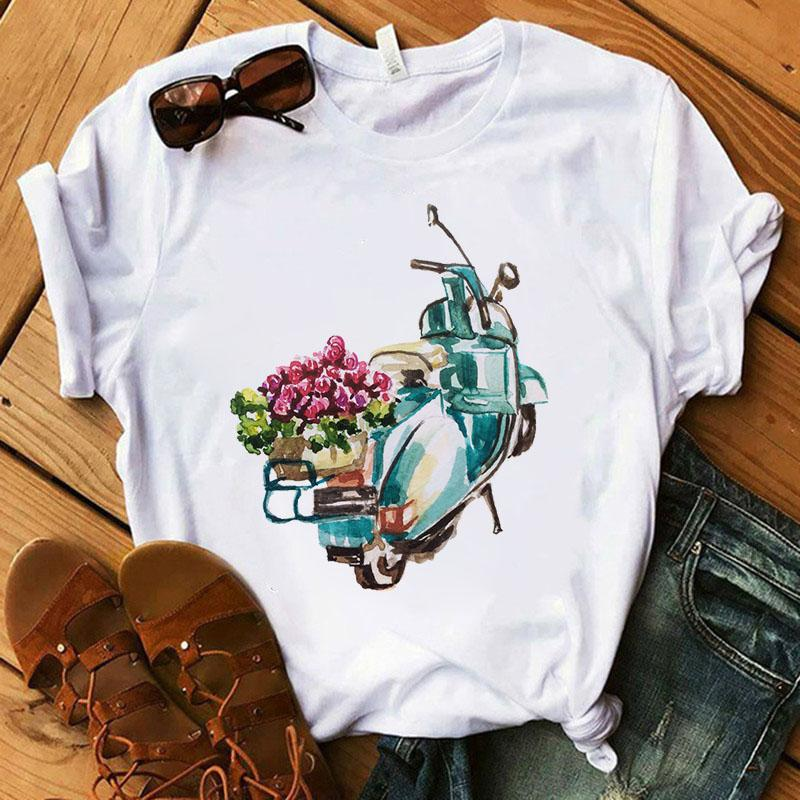 Tricou Blue Motorcycle With Flower - Sabas
