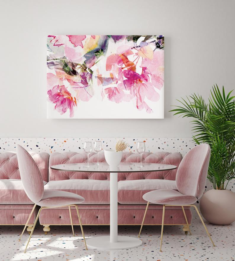Tablou Watercolor Pastel Pink Flowers - Sabas