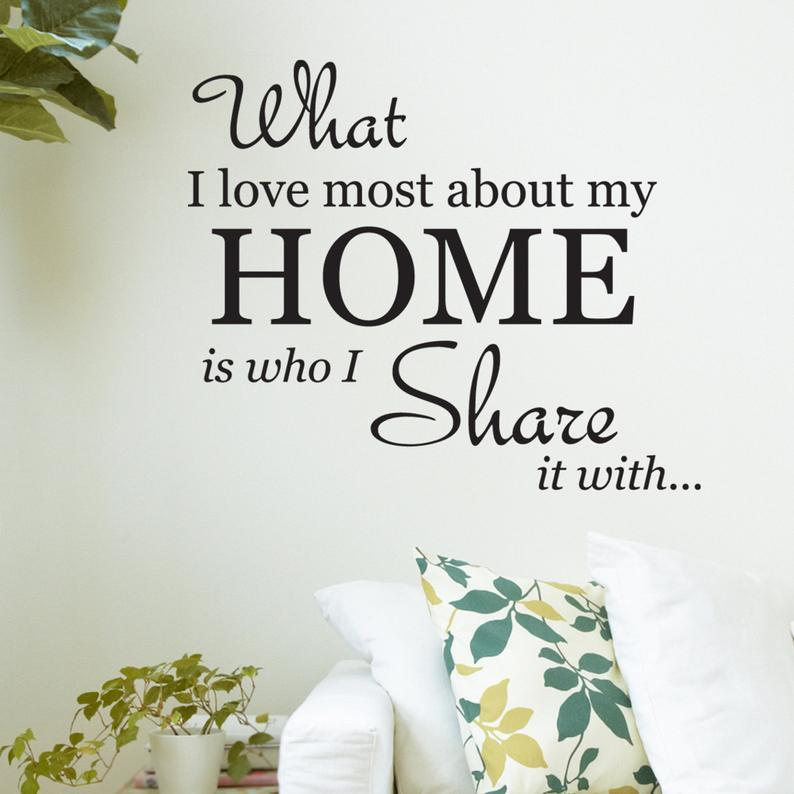 Wall Quote what I love most about my home - Sabas