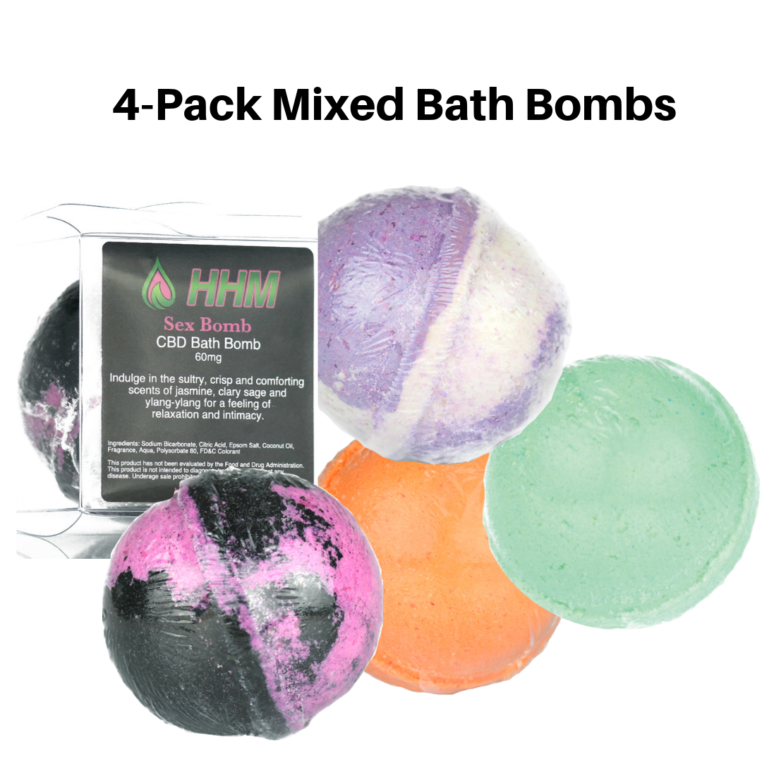 4 Pack mixed scents CBD bath bombs