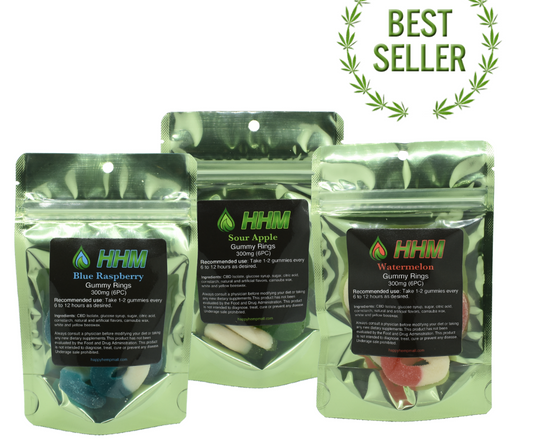 Multiple flavors of gummy rings with CBD oil 300mg