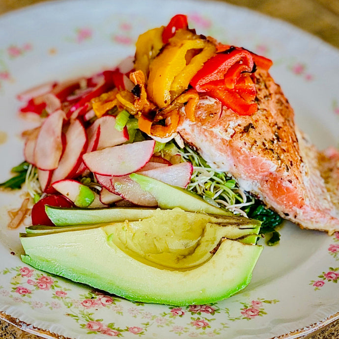 Crispy Skin Salmon with Super Food salad