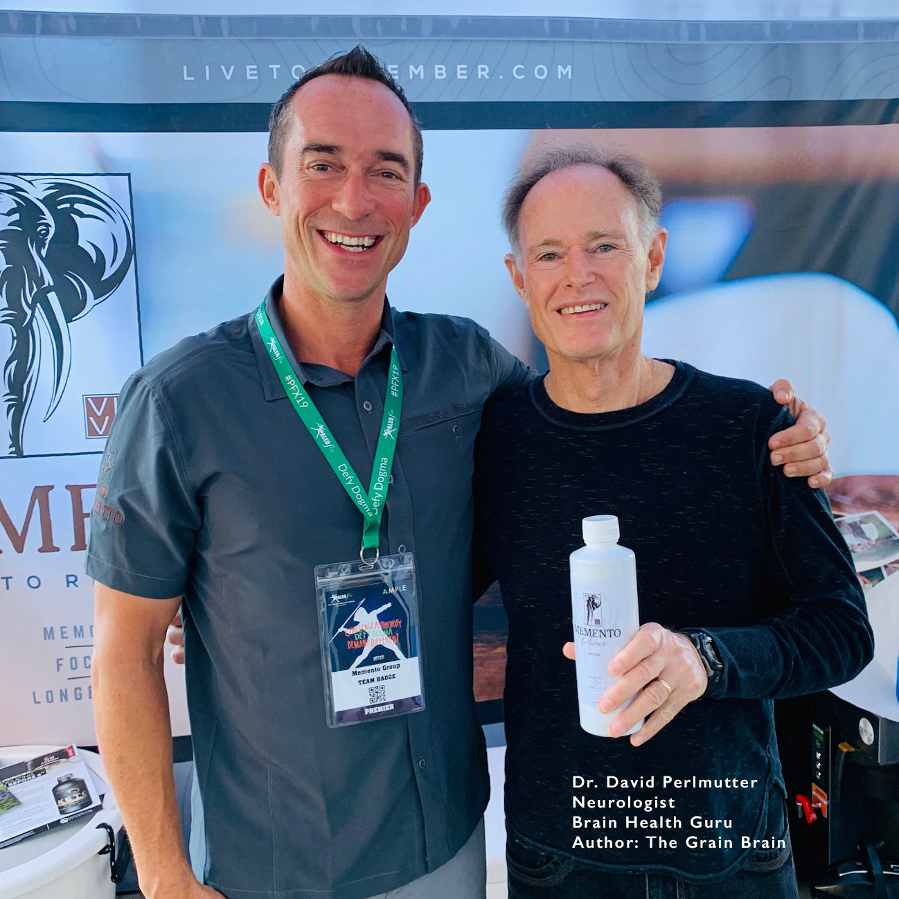 Joe Claussen With Dr. David Perlmutter at Paleo f/x with Memento Cognitive Creamers