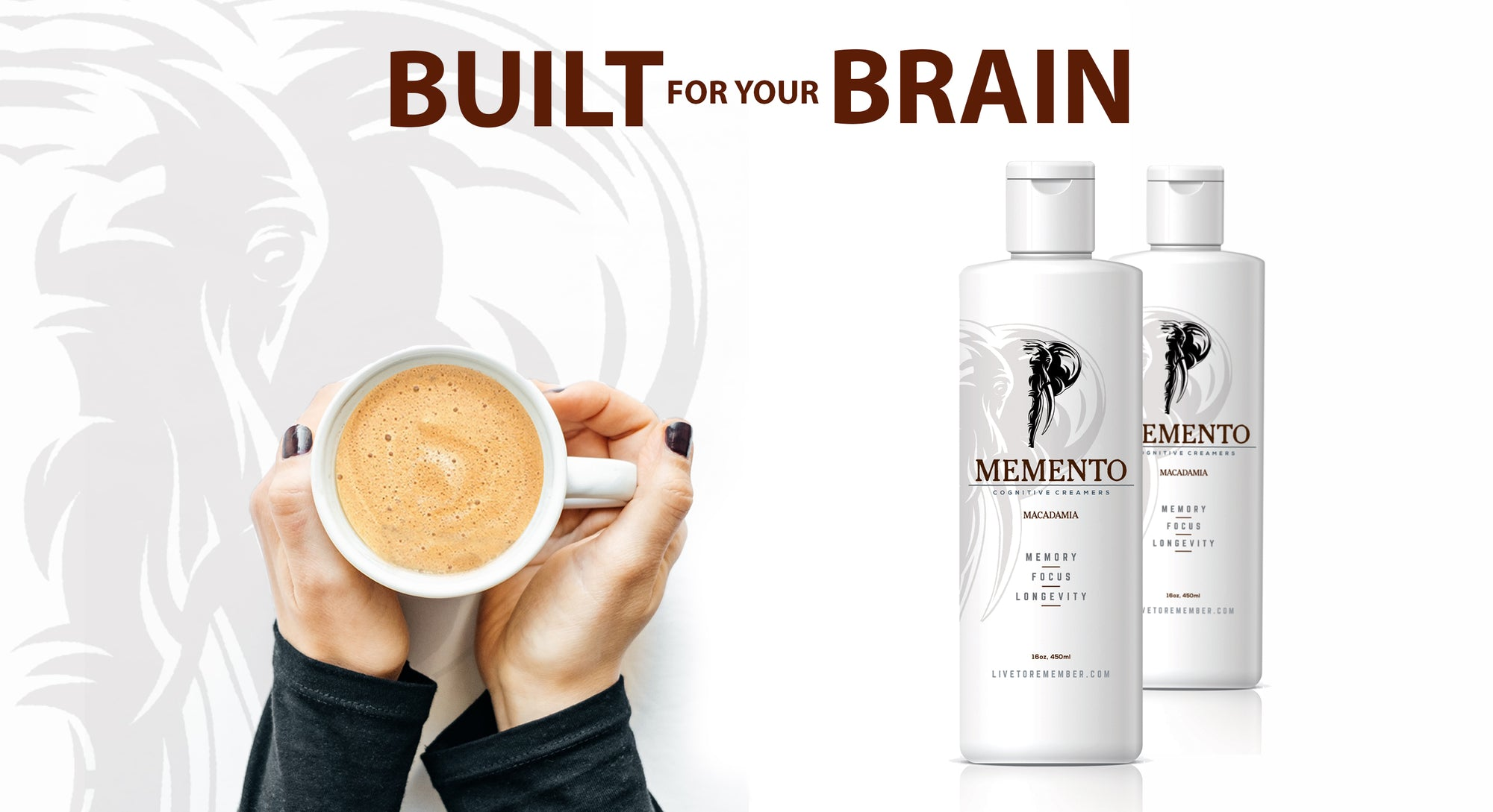 White background with memento elephant logo in background. Two bottles of Memento and hands holding cup of coffee