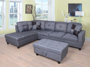 Sectional 3pcs with ottoman F128